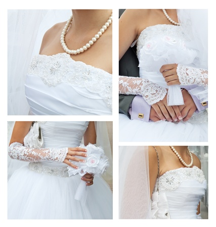 virginity: wedding collage: clothing, accessories, bridal bouquet, beautiful pearls