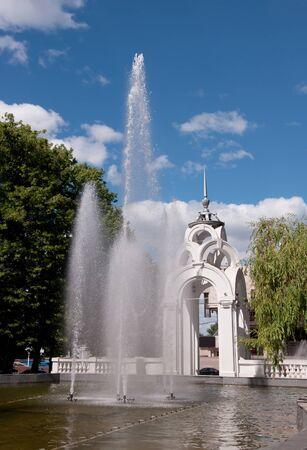 kharkov: Fountain & Mirror stream - symbol of Kharkov city. Kharkov - city of EURO-2012, Ukraine. 1947  Stock Photo