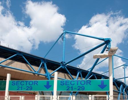 Metalist Stadium - entrance to the sector, Kharkov, Ukraine. The stadium hosts Football Club Metalist Kharkov and will host UEFA EURO Championship in 2012.