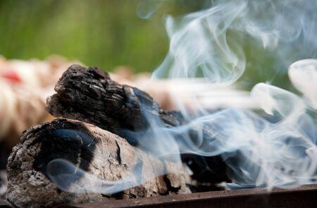 smoldering: White smoke rises over the bonfire and kebab