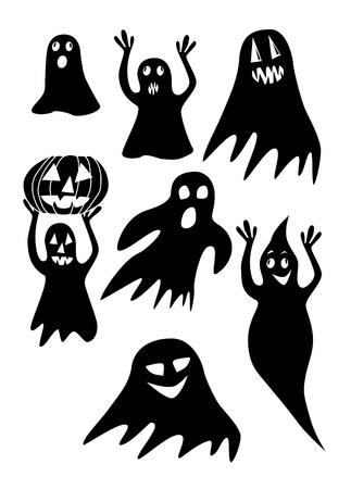 spiteful: The collection of black halloween ghosts on a white background