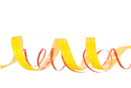 Yellow and red ribbons isolated on a white background photo