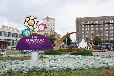 Logo EURO 212 on station square in Kharkov, Ukraine Stock Photo - 11829586