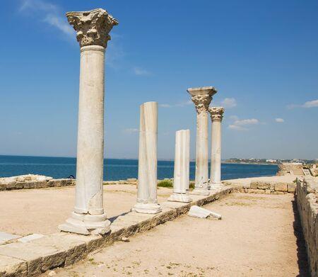 Ancient Greek basilica and marble columns  Chersonesus Taurica near Sevastopol in Crimea, Ukraine Stock Photo - 13848471