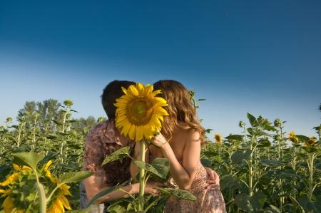 pareja abrazada: Feliz pareja de j�venes y el girasol en el campo