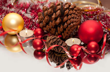 Christmas Bauble, candles and ribbon photo