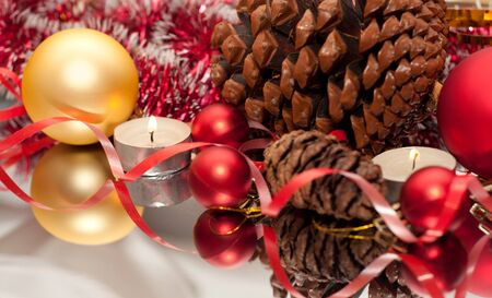 Christmas Bauble, candles and ribbon Stock Photo - 15823296