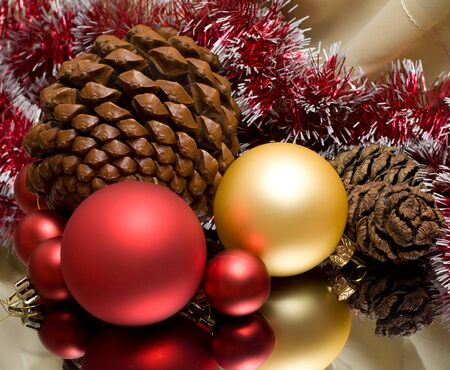 Christmas decoration  red and gold bauble reflection photo