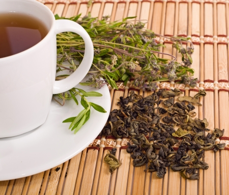 water thyme: the white cup of herbal tea with thyme