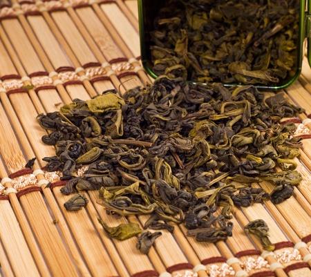 stimulated: green tea on bamboo mat