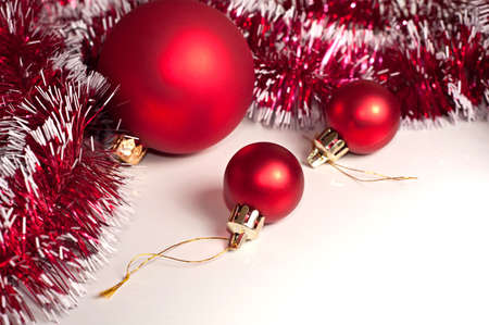 festoon: Red Christmas decoration on white background Stock Photo