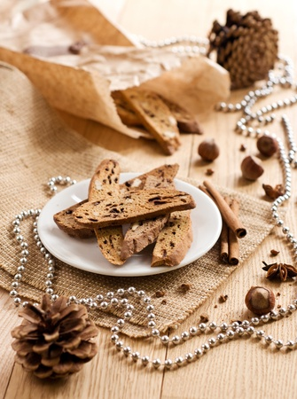 Traditional Italian biscotti - Christmas sweet cookies. Stock Photo - 21739635