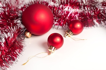 Red Christmas decoration on white background photo