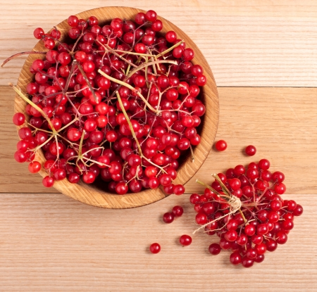 guelder rose berry: Red viburnum berries on wooden table, top view
