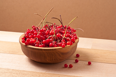 Bright red viburnum berries on wooden dish table photo