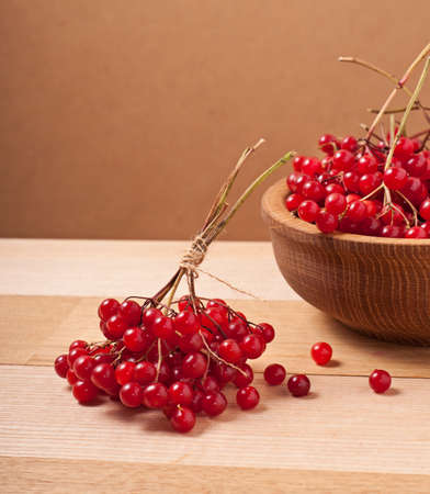 Bright red viburnum berries on table photo