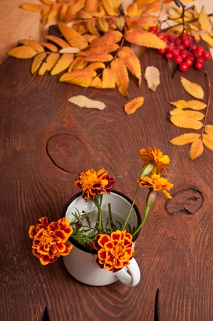 Tagetes flowers bouquet and rowans leaves on wooden photo