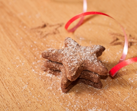 Christmas sweet cookies on wooden table Stock Photo - 23424589