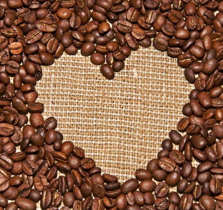 coffee beans heart, love concept photo