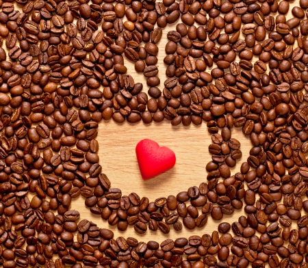 coffee beans cup and red heart , Valentines day concept photo