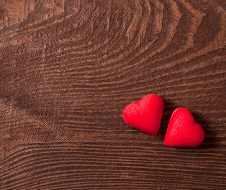 two red hearts on wooden, Valentines day concept