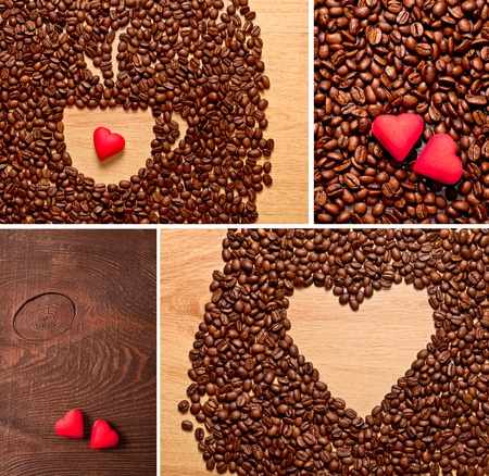 coffee beans cup and red heart, love concept photo