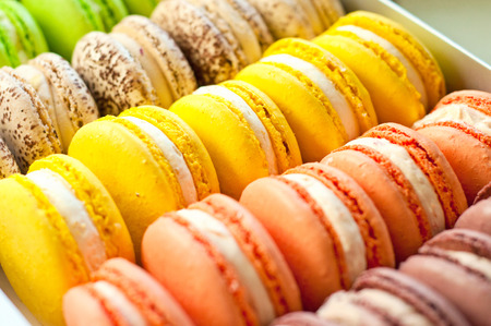 the many sweet colorful macaroons, close photo