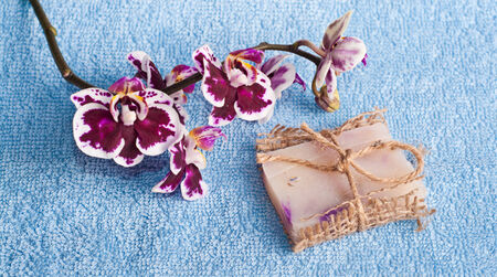 Рink orchid and soap on blue background, SPA concept photo
