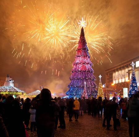 kharkov: Christmas tree on a fireworks background in Kharkov Editorial