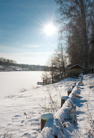 Winter sunny day on nature. Beautiful winter landscape photo