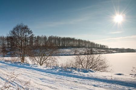Winter sunny day on nature. Beautiful winter landscape photo