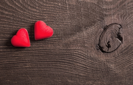 1 2 month: red hearts on wooden background, Valentines day concept Stock Photo