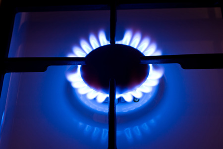 Stove gas fire flame. Kitchen gas cooker photo