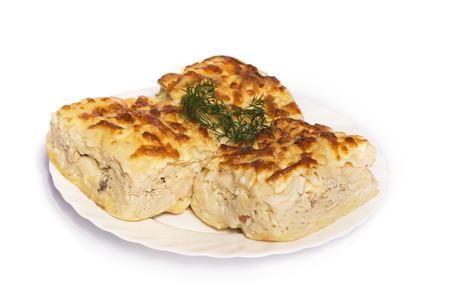 georgian: Achma - khachapuri with cheese and dill. Traditional georgian cuisine