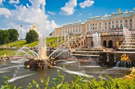 june 25: PETERHOF, SAINT-PETERSBURG, RUSSIA - JUNE 25, 2013: Grand Cascade in Peterhof, St Petersburg, Russia on June 25, 2013.  Peterhof palace was included in the UNESCO World Heritage List Editorial