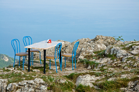 seclusion: The secluded cafe located on the mountain top in Crimea