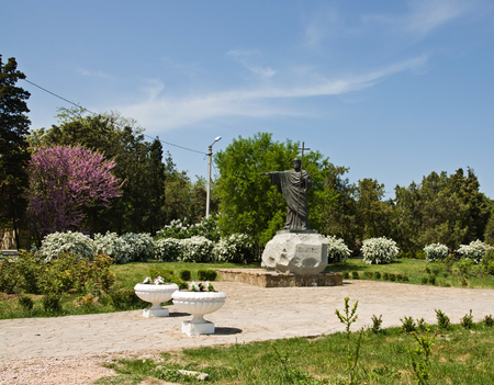 apostle: SEVASTOPOL, CRIMEA - MAY 03, 2012: The State Museum Preserve Tauric Chersonese. The monument to Apostle Andrew near Cathedral of St. Vladimir in Tauric Chersonese, Sevastopol in Crimea Editorial