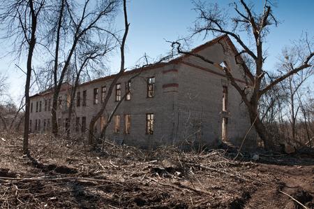 devastation: Destroyed building - outdoor. Concept demolition, earthquake, catastrophe, disaster