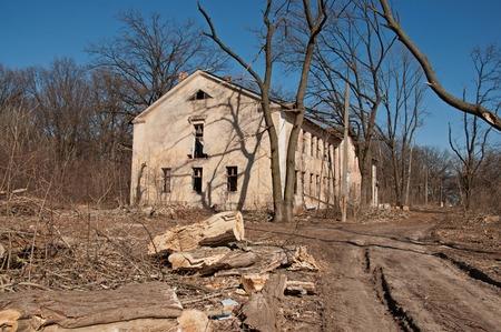 catastrophe: Destroyed building,  concept demolition, war, earthquake, catastrophe, disaster Stock Photo