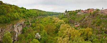 Old castle near beautiful canyon in Kamenetz-Podolsk in Ukraine Stock Photo