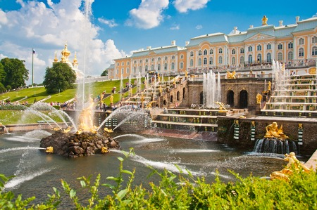 PETERHOF, SAINT-PETERSBURG, RUSSIA - JUNE 25, 2013: Grand Cascade in Peterhof, St Petersburg, Russia on June 25, 2013. Peterhof palace was included in the UNESCO World Heritage List