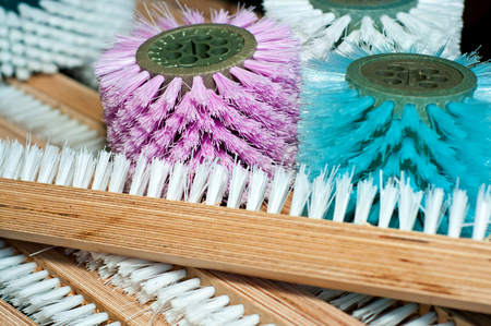 The pile of colorful brushes. Many colorful fetlocks. Close-up
