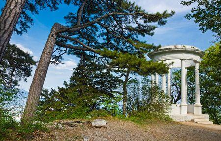 Silver arbor near Yalta, Crimea, Ai-Petri. Beautiful white arbor