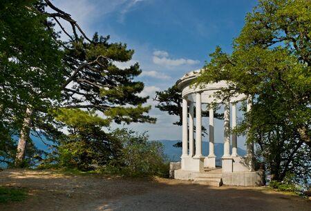 Silver arbor near Yalta, Crimea. Beautiful white arbor Stock Photo