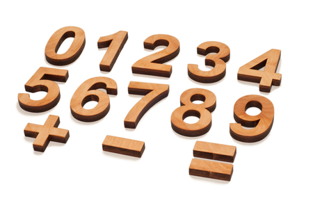 Wooden Numerals 0-9 on white background. Number Numeral character