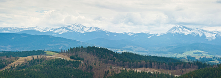 Beautiful view on mount Hoverla and mount Petros, Carpathians mountains in Ukraine. Panorama view.