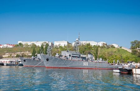 SEVASTOPOL, CRIMEA, UKRAINE - MAY 06, 2013: Seagoing Minesweeper