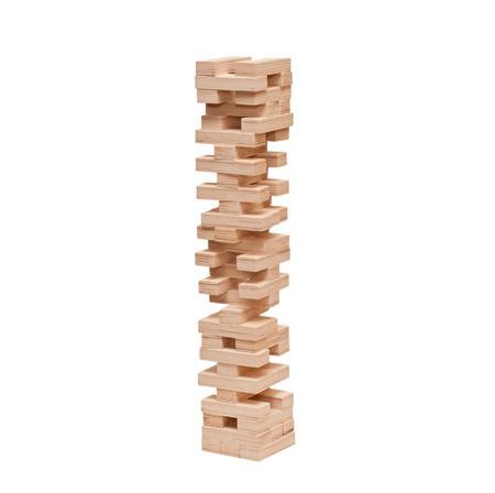Blocks wooden puzzle game (jenga) isolated on white background