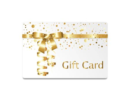 streamers: Golden gift card with streamers and ribbons