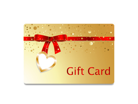 Golden gift card with red ribbon bow with heart badge